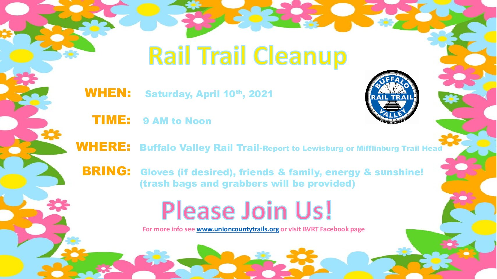 April 10th is Trail Cleanup Day!!